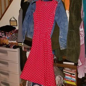 Dresses & Skirts - Red Polka Dot Thrifted Dress